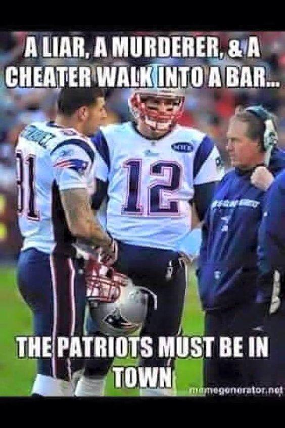 Patriots humor featuring Tom Brady, Coach Bill B., and Aaron Hernandez!