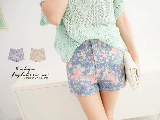TOKYO FASHION - FLORAL DENIM SHORTS  Price : RM41.30 #shorts #floral #yoloveitmy  #under50 #rakuten
