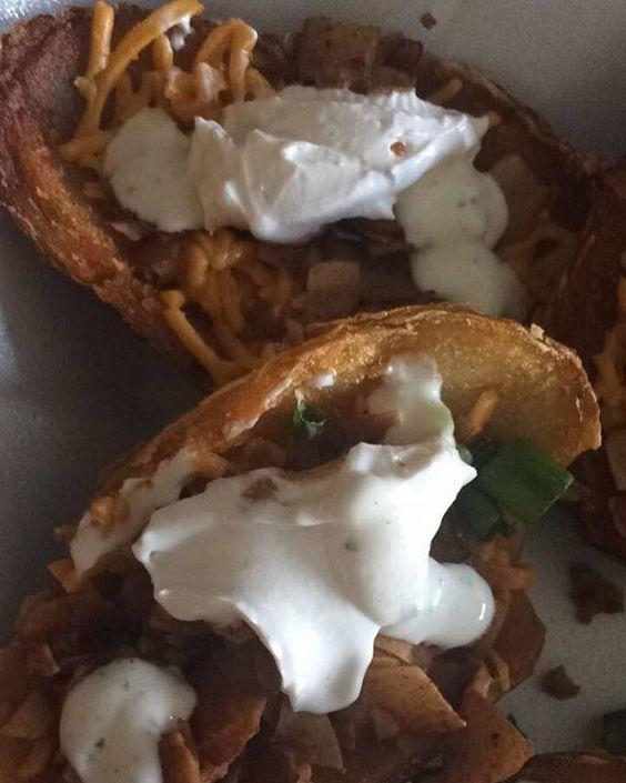 potato skins with @daiyafoods shreds & @phoney_baloneys coconut bacon. Irish-American #vegan girl dream come true.  Yummery - best recipes. Follow Us! #veganfoodporn