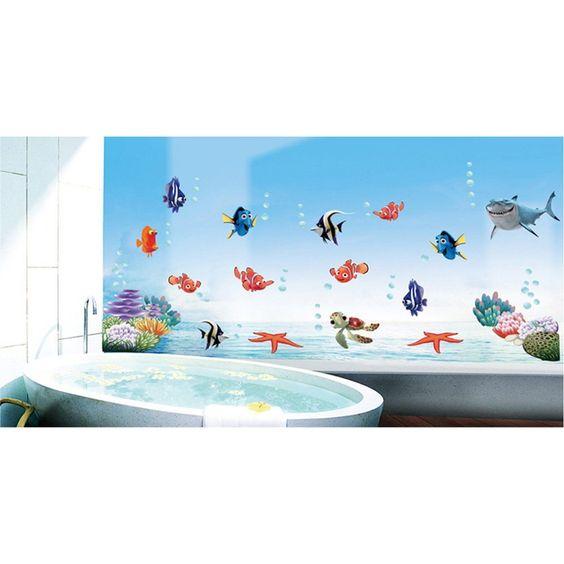 Anself Unterwasser-Welt verschiedene Fisch-Ozean-DIY Wandaufkleber - wandbilder für küche