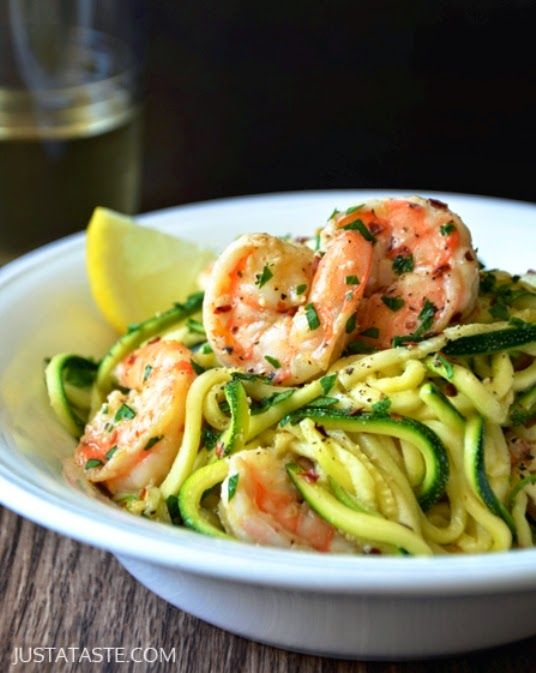 """Skinny Shrimp Scampi with Zucchini Noodles Recipe: I Can't Believe It's Not Butter Spray 5oz of cooked pilled, shrimp minced garlic (&/or garlic powder) Veggetti (to turn the Zucchini into pasta) Saute until """"noodles"""" are soft - ENJOY"""