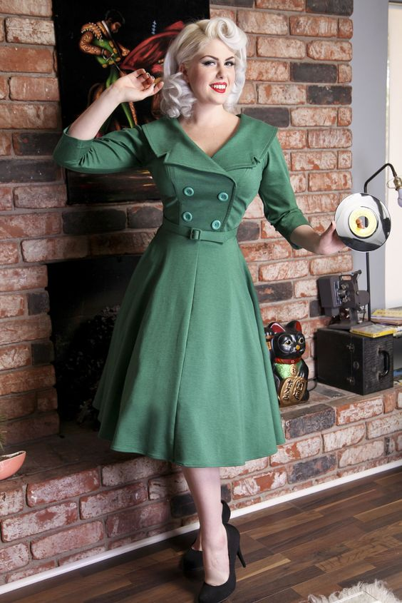 secretary circle green 3 4 bettie page clothing i love this dress i just worry the top is. Black Bedroom Furniture Sets. Home Design Ideas