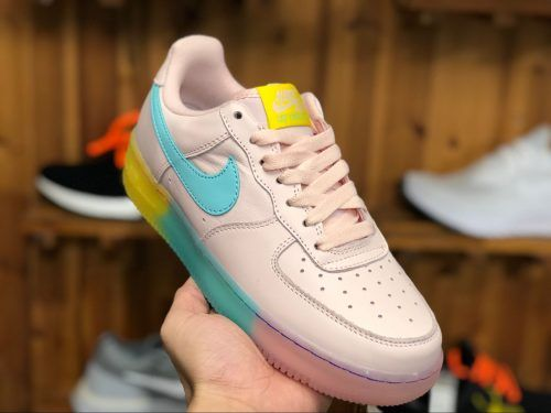 Nike Air Force 1 Low Pink Blue Yellow Crystal Bottom 596728