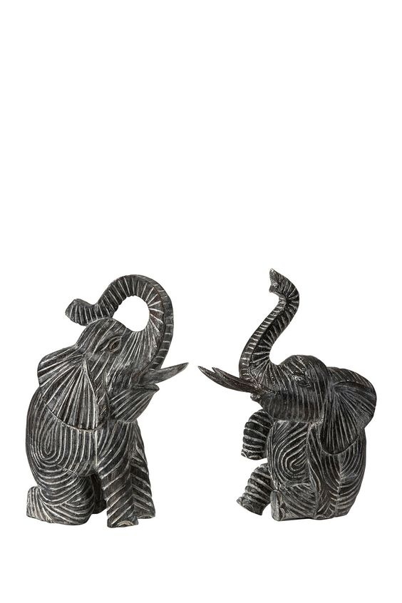 Bakari Wood Carved Elephants - Set of 2