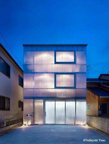 House in Tousuien.   The exterior is translucent polycarbonate, allowing the penetration of sunlight without sacrificing privacy.