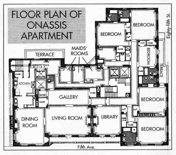 The floor plan of jackie 39 s 1040 fifth avenue apartment for 1040 5th avenue 15th floor