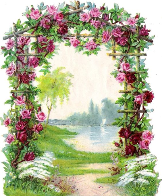 Oblaten Glanzbild scrap die cut chromo Rosenbogen 17cm flower arbor Boot boat: