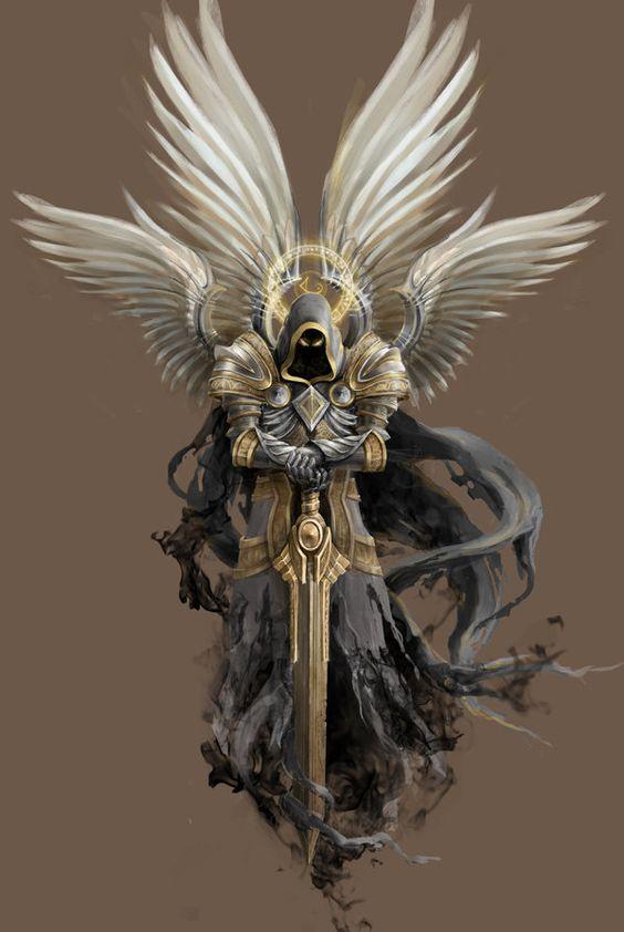 angel of death black wings hooded face sword, grim reaper tattoo - grimm küchen rastatt