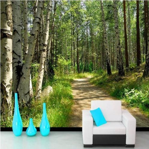 3d White Birch Trees Green Forest With Pathway Wallpaper For Wall Birch Tree Mural White Birch Trees Scenic Wallpaper