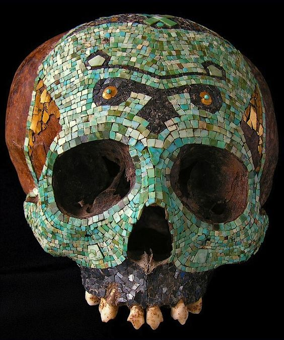 Polychromic Mosaic Skull (Tessels of Turquoise, Hematite and Tumbaga Gold sheet), Mixtec/Aztec, Mexico, 1300-1521 A.D.