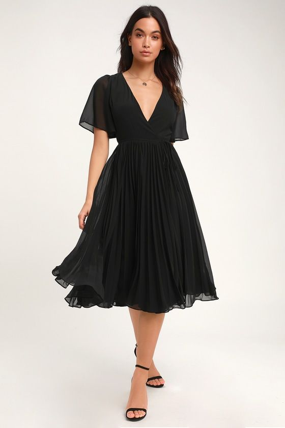 Lulus | Pleats to Meet You Black Pleated Midi Wrap Dress | Size Small | 100% Polyester