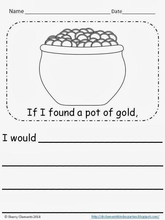 FREEBIE writing...If I found a pot of gold... (kindergarten, 1st ...