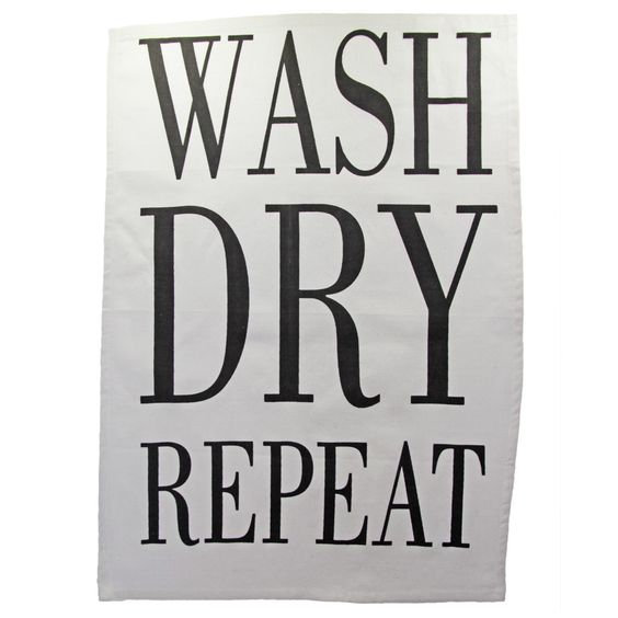 Geschirrtuch WASH DRY REPEAT Tea Towel; 49 x 70 cm; mit Aufhänger; 100% Baumwolle; waschbar bei 30°C