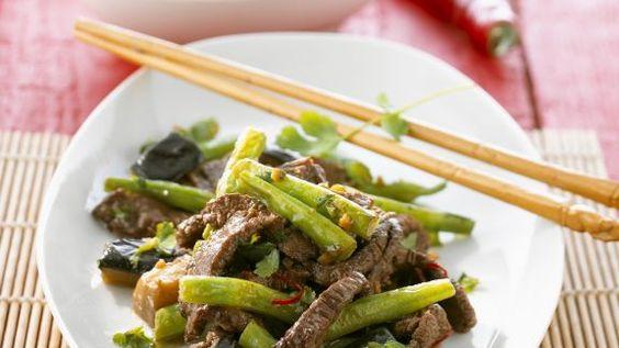 Rezept: Rindfleischstreifen mit Auberginen und Bohnen