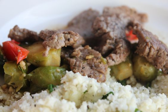 "Beef and Brussels Sprouts Stir Fry with Cauliflower ""Rice"" 