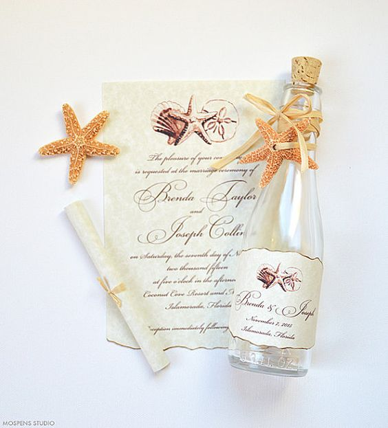 You found it! The MOST elegant beach wedding invitations in a bottle! Tropical chic bottle invitations perfect for destination beach and seaside