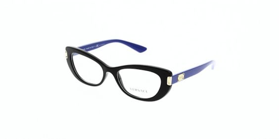 Versace Glasses VE3223 GB1 53 is a blue frame and is designed for women. It is a medium style with a 53mm lens diameter. The bridge size for this model is 17mm and the side length is 140mm. This adult designer glasses model is a plastic, full rimmed frame with a cats eye shape. Delivery is free with orders over £20.