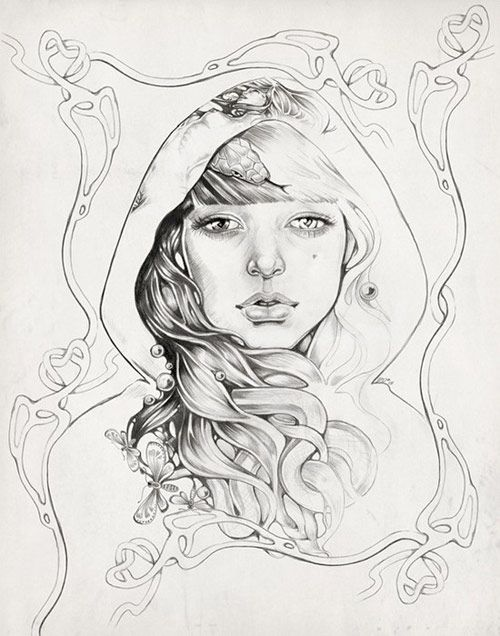 Martine Johanna  Art nouvoeu influenced. Martine has a very surreal and mysterious style to her illustrations.