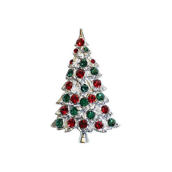 Pre-Owned Silvertone Jeweled Christmas Tree Pin ($125) ❤ liked on Polyvore featuring jewelry, brooches, jewel brooch, christmas brooch, preowned jewelry, christmas jewelry y pin brooch
