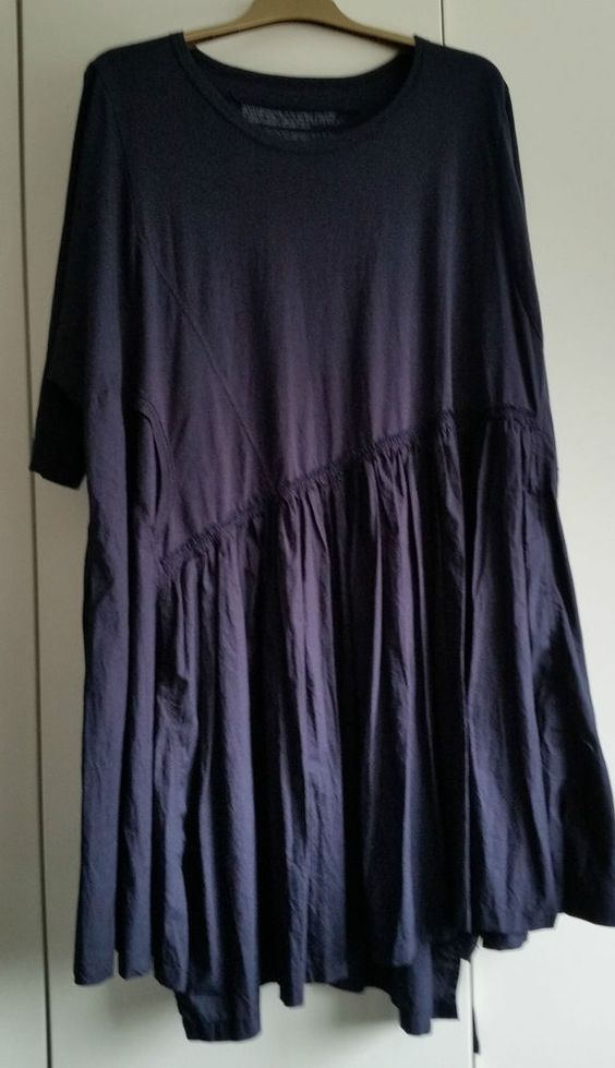 Rundholz Amazing Asymmetric Navy Cotton/Jersey Dress Batwing One Size Generous #Rundholz