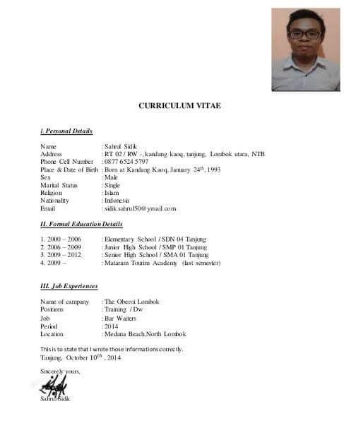 Contoh Cv Daftar Riwayat Hidup Waiter Surat Pelayan Riwayat Hidup