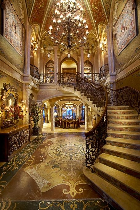 Grand foyer luxury home inspiration high fantasy for Mansion foyer designs