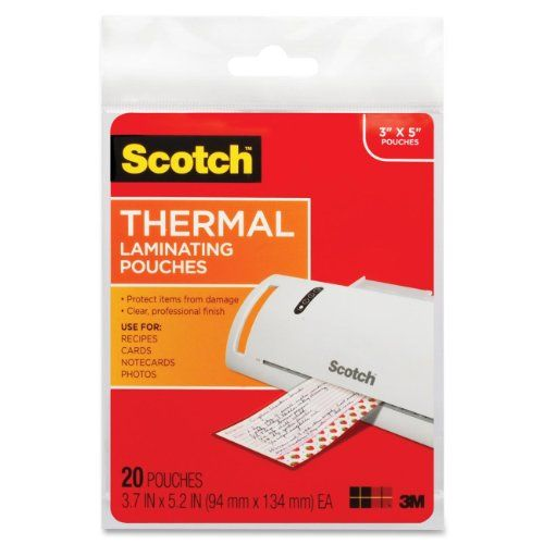 Thermal Laminating Pouches, 3.7 Inches x 5.2 Inches, 20 Pouches (TP5902-20) 3M http://www.amazon.com/dp/B0018N6SLS/ref=cm_sw_r_pi_dp_gEy.tb16W6X7T