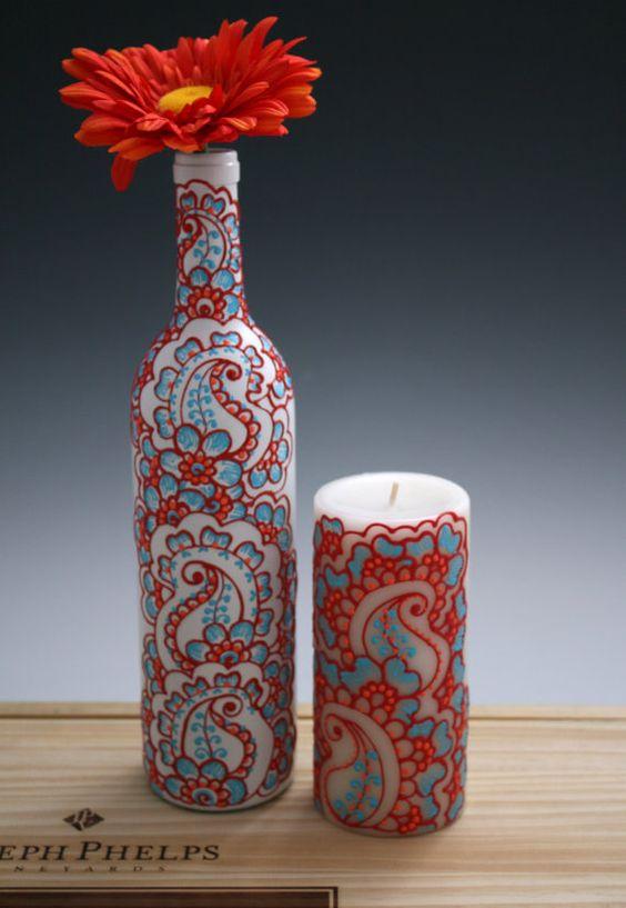 Botella de vino florero con vela correspondiente establece - Botellas con velas ...