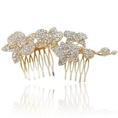 5 Inch Orchid Flower Bud Hair Comb Clear Austrian Crystal Gold-Tone buy at mariescrystals.com