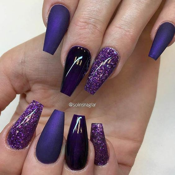 60 Newest Acrylic Coffin Nail Designs To Inspire You 2018 Styles Art Purple Nails Coffin Shape Nails Purple Acrylic Nails