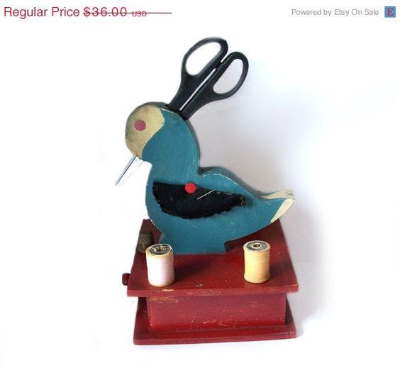 ON SALE Vintage Folk Art Duck Sewing Box Red by MargsMostlyVintage
