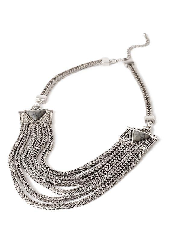 Mehrreihige Halskette mit Schmucksteinen - Damen Accessoires, Schmuck und Taschen | online shoppen | Forever 21 - 1002246744 - Forever 21 EU