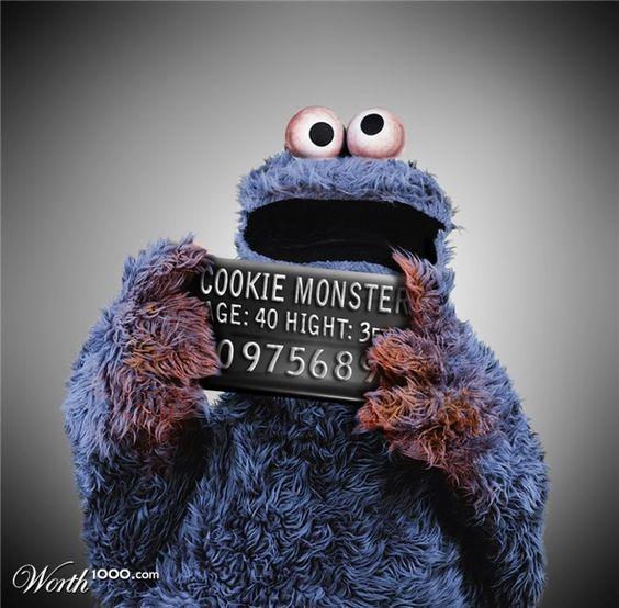Cookie monster, Mug shots and Celebrity mugshots on Pinterest  Elmo And Cookie Monster Gangster