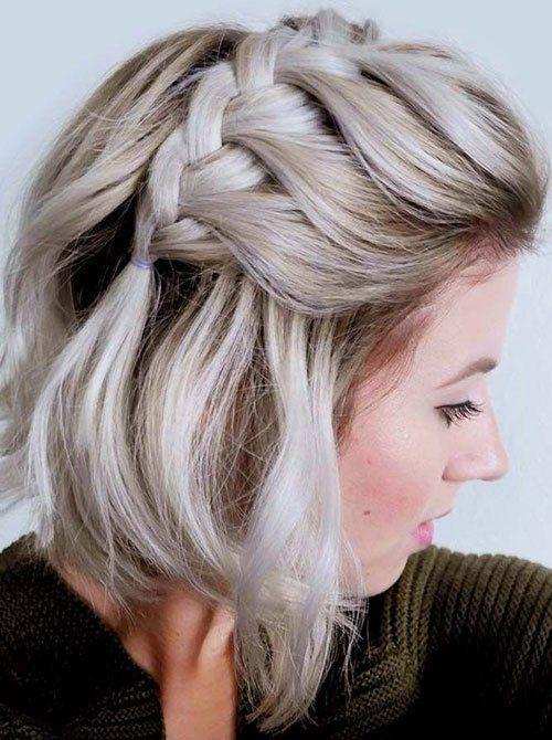 Side French Braid Ideas Of Cute Easy Hairstyles For Short Hair Easyhairstyles Short Hair Styles Easy Braids For Short Hair Short Straight Hair