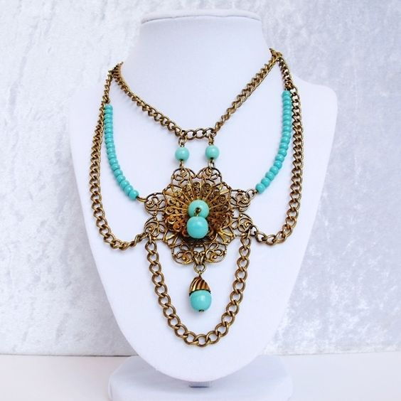 Breathtaking Vintage Turquoise Glass and Brass Festoon Necklace from Vintage Jewelry Girl! #vintagejewelry #vintagejewellery #vintagenecklace