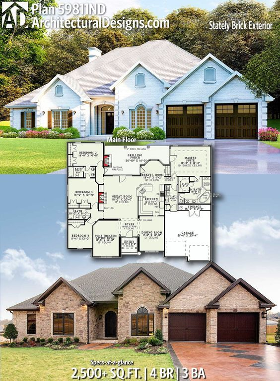 Plan 59811nd One Story House Plan With A Stately Brick Exterior Architectural Design House Plans Brick Exterior House New House Plans