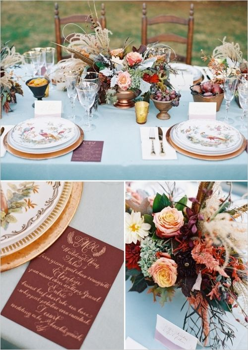 Adam Barnes Photography Southern Blooms by Pat's Floral Design  via Wedding Sparrow Pocketful of Sunshine Event Design Inspiration: Dusty Blue & Cranberry