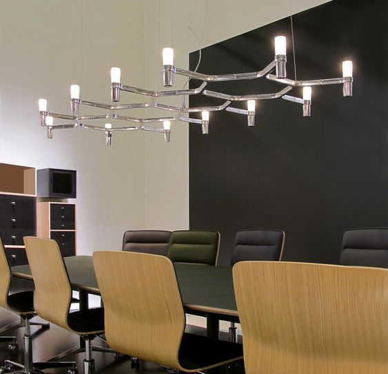 Pendant chandeliers, with modular structure in die-casted aluminium and sandblasted glass diffusers. Structure in aluminium hand polished, glossy gold plated or painted in matt white, matt black or gold. Available a NEMO LED G9 kit. Widespread light. Double switch for the SUMMA version. Transparent cable. Red cable on request.