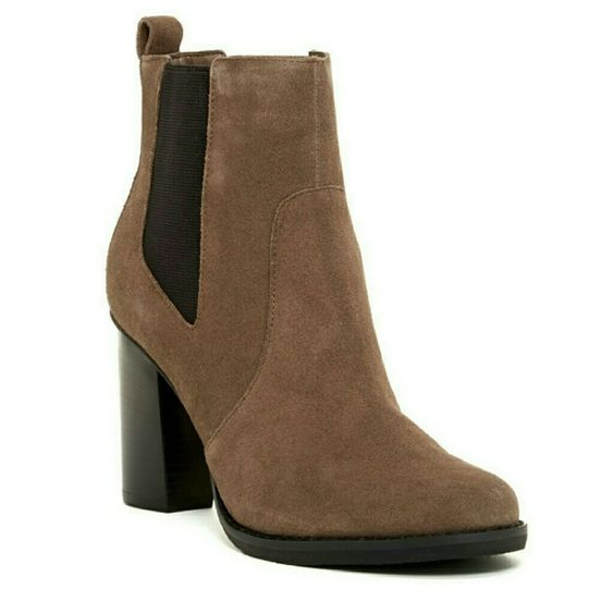 "Taupe suede booties A classic bootie to add to your collection! Grey/Taupe coloring. New in box!!   Round toe, dual side goring and back pull tab  Approx. 3.5"" heel  Suede upper, manmade sole Shoes Ankle Boots & Booties"