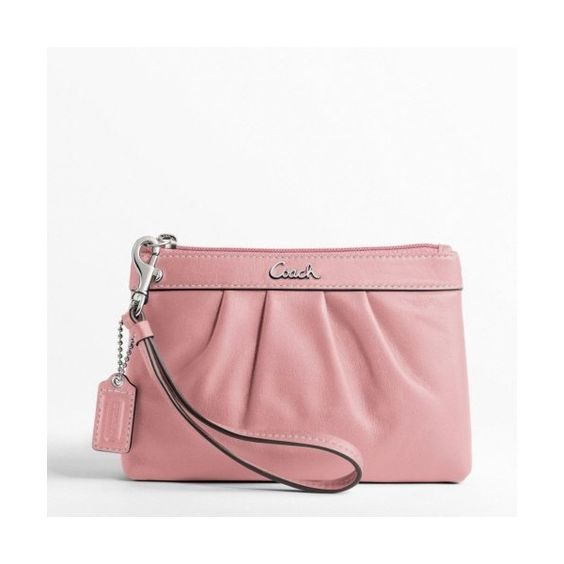 # Coach Leather Pleated Wristlet F43431 (Silver/Blush) found on Polyvore