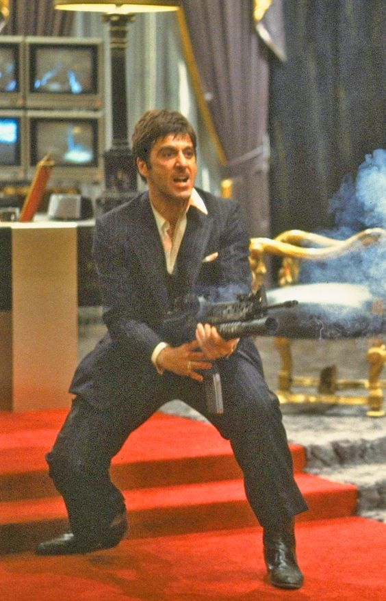 """Al Pacino, Scarface (1983) """"Say hello to my little friend!"""""""