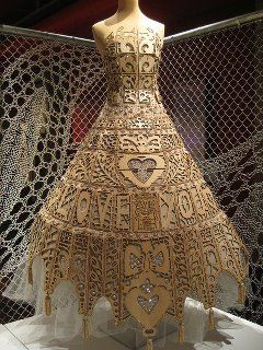 Wood and lace dress on display in Calais.