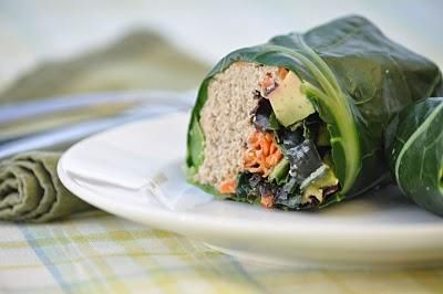 love collard green wraps!!!  i usually de-stem and steam the greens for 5-7 minutes before loading them full of goodies!