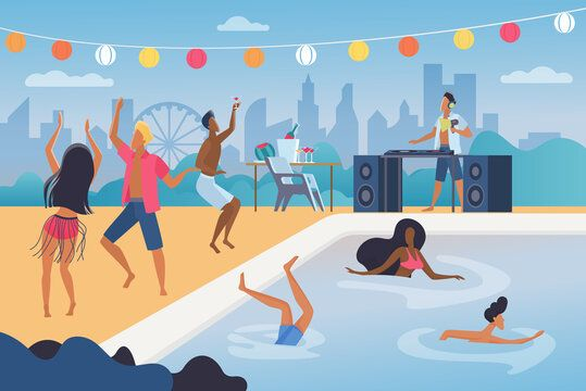 People Dance In Pool Party Vector Illustration Cartoon Happy Man Woman Dancer Characters Dancing Jumping Party Swimming Pool Beach Cocktails Party Background