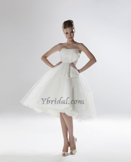 Empire Strapless Knee-Length Taffeta and Tulle Wedding Dress WEM04837