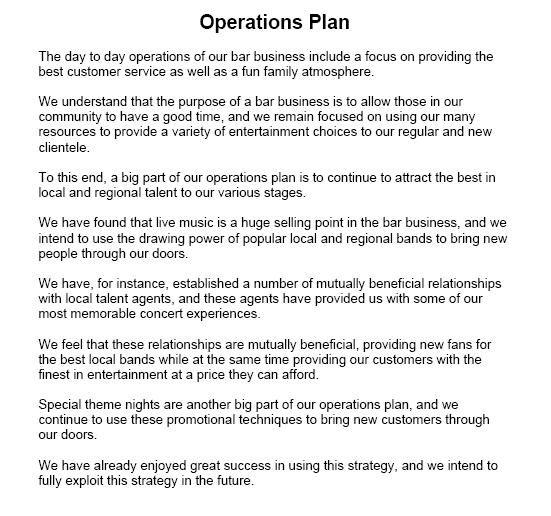 Operational Plan Sample Business Plan Outline How To Plan Sample Business Plan