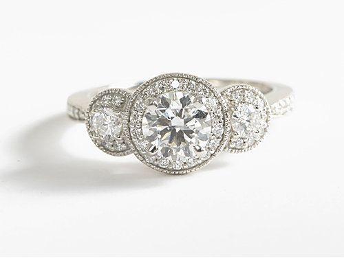 Three Stone Milgrain Halo Diamond Engagement Ring | #Wedding #Engagement #Ring #Jewelry