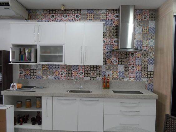 ladrilho português adesivo papel de parede para cozinha