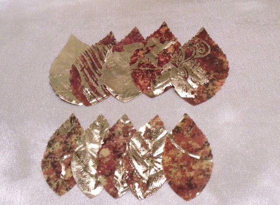 Seidenblätter, Gold mit Musterung, 10 Stück, Bastelmaterial, versch. Größen