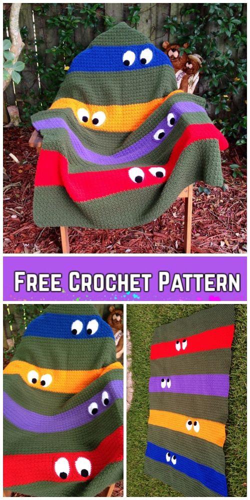 Crochet Teenage Mutant Ninja Turtle Blanket Free Crochet Pattern